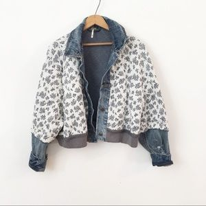 FREE PEOPLE   Ditsy Denim Quilted Floral Jacket